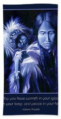 Inuit Mother And Child Holiday Card Beach Sheet