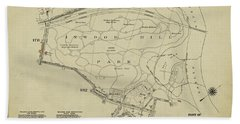 Beach Towel featuring the photograph Inwood Hill Park 1950's Map by Cole Thompson
