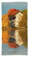 Iola Mill Fall Reflection Beach Towel by Trey Foerster