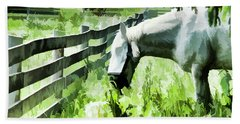 Iowa Farm Pasture And White Horse Beach Towel by Wilma Birdwell