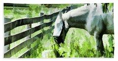Beach Sheet featuring the digital art Iowa Farm Pasture And White Horse by Wilma Birdwell