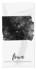 Iowa State Map Art - Grunge Silhouette Beach Towel