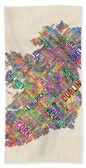 Ireland Eire City Text Map Derry Version Beach Towel