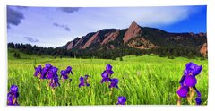 Iris And Flatirons Beach Towel by Scott Mahon