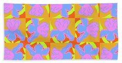Beach Towel featuring the painting Iris Cartwheel by Beth Saffer