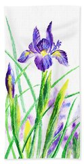 Iris Flowers Botanical  Beach Towel