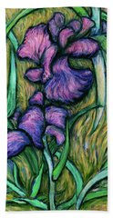 Beach Towel featuring the painting Iris For Vincent - Contemporary Fauvist Post-impressionist Oil Painting Original Art On Canvas by Xueling Zou