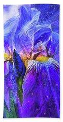 Beach Towel featuring the mixed media Iris - Goddess Of Starlight by Carol Cavalaris