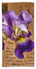 Iris On Vintage 1912 Postcard Beach Towel