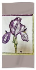 Iris Painted In Purple Beach Towel by Marsha Heiken