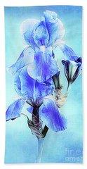 Iris Pair In Blue Beach Towel