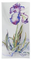 Beach Towel featuring the painting Iris Passion by Mary Haley-Rocks