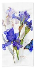Iris With Blue Butterfly Beach Towel
