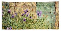Irises At The Old Barn Beach Towel