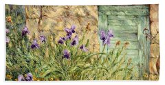 Irises At The Old Barn Beach Sheet
