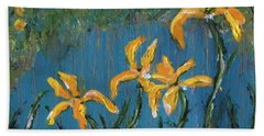 Beach Towel featuring the painting Irises by Jamie Frier