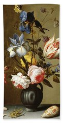 Irises, Roses, Columbine, Hyacinth And A Tulip In A Black Pottery Pitcher Beach Towel