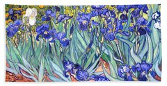 Beach Towel featuring the painting Irises by Van Gogh