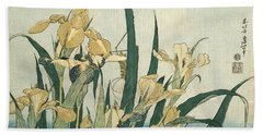 Irises With A Grasshopper Beach Towel