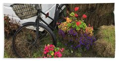 Irish Bike And Flowers Beach Towel