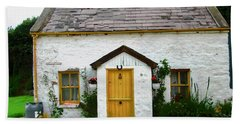 Irish Cottage With A Yellow Door Beach Towel