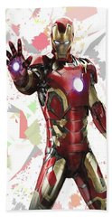 Beach Sheet featuring the mixed media Iron Man Splash Super Hero Series by Movie Poster Prints