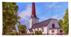 Beach Towel featuring the photograph Irsta Church.  by Leif Sohlman