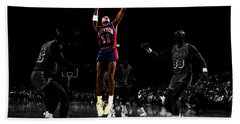 Beach Towel featuring the mixed media Isiah Thomas Finger Roll by Brian Reaves
