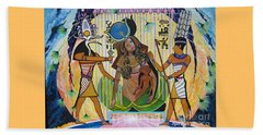 Isis Gives Birth To Horus Beach Towel by Sigrid Tune