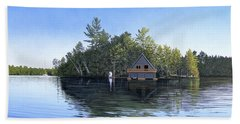 Beach Towel featuring the painting Island Boathouse Muskoka  by Kenneth M Kirsch