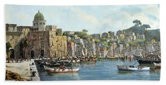 Beach Towel featuring the painting Island Of Procida - Italy- Harbor With Boats by Rosario Piazza