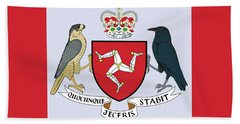 Beach Towel featuring the drawing Isle Of Man Coat Of Arms by Movie Poster Prints