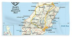 Isle Of Man Map Beach Towel