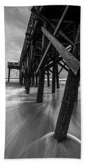 Beach Towel featuring the photograph Isle Of Palms Pier Water In Motion by Donnie Whitaker
