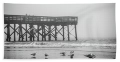Beach Towel featuring the photograph Isle Of Palms Pier And Fog by Donnie Whitaker