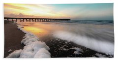Isle Of Palms Pier Sunrise And Sea Foam Beach Towel