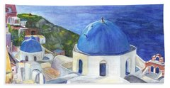 Isle Of Santorini Thiara  In Greece Beach Towel by Carol Wisniewski