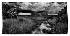 Isolated Shower - Bw Beach Towel