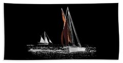 Isolated Yacht Carrick Roads On A Transparent Background Beach Towel