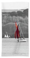 Isolated Yacht Carrick Roads Beach Towel