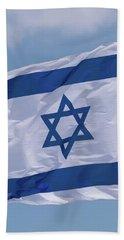 Israeli Flag In The Wind Beach Sheet