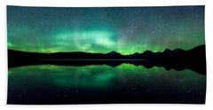 Beach Towel featuring the photograph Iss Aurora by Aaron Aldrich