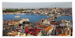 Istanbul Cityscape Beach Towel