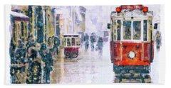 Istanbul Nostalgic Tramway Beach Towel
