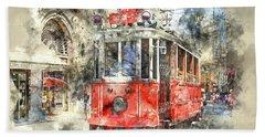 Istanbul Turkey Red Trolley Digital Watercolor On Photograph Beach Towel