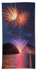 It Crepitates As Soon As It Explodes In Mid Air.  Beach Towel