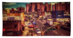 Beach Towel featuring the photograph It Takes A Village - New York Street Scene by Miriam Danar