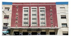 Italian Colonial Art Deco Old Cinema Building In Asmara Eritrea Beach Towel