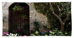 Italian Front Door Adorned With Flowers Beach Sheet by Marilyn Hunt