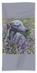 Italian Greyhound In Flowers Beach Towel